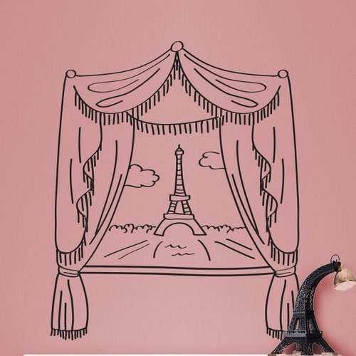 Dana Decals Paris Window and Eiffel Tower Doodle Scene Small Wall Decal