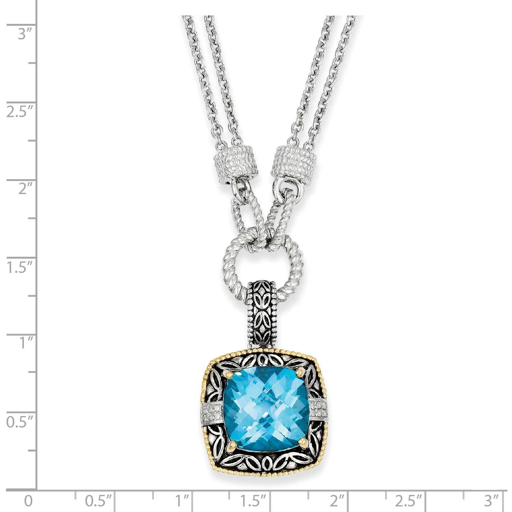 Sterling Silver Two Tone Silver And Gold Plated Sterling Silver w/Sky Blue Topaz & Diamond Necklace - image 1 of 2