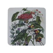"""Pack of 8 Antique Style Botanical Mixed Floral Print Cocktail Drink Coasters 4"""""""