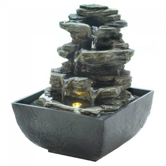 Multi-Level Tiered Rocks Lighted Tabletop Fountain