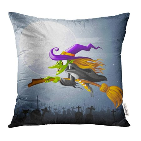 CMFUN Character of Halloween Witch Flying Over Graveyard Fantasy Moon Wicked Hat Girl Pillow Case Pillow Cover 16x16 inch Throw Pillow Covers