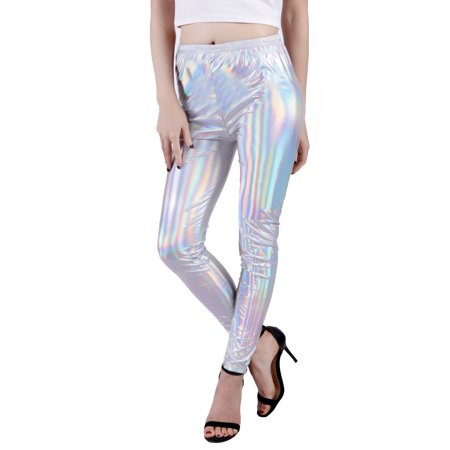 49c40375864f8 HDE Women Rainbow Holographic Shiny Liquid Wet Look Metallic Stretch  Leggings