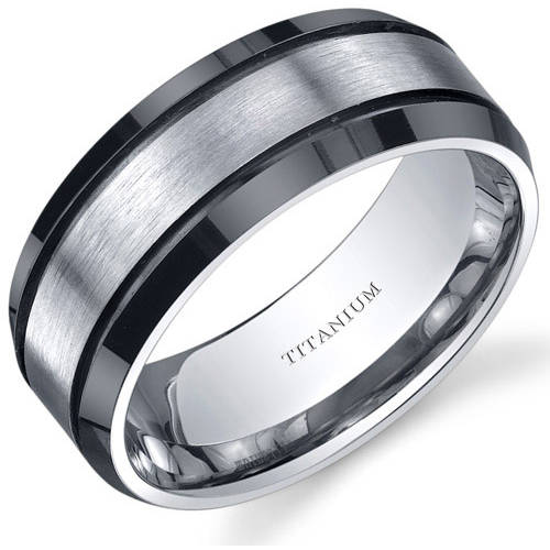 Oravo Mens Titanium Black and Silver Beveled Edge Ring 8mm