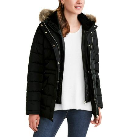 f775cfa4f07 Time and Tru - Time and Tru Women s Heavyweight Puffer Coat With Faux  Fur-Trim Hood - Walmart.com