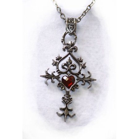 Gothic Cross Heart Pendant Necklace - Red Crystal