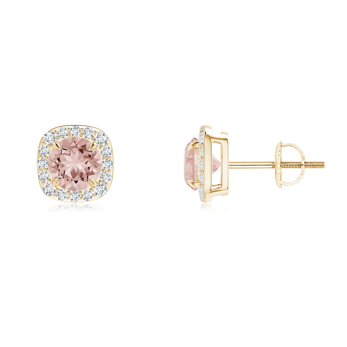 Angara Claw-Set Morganite and Diamond Halo Stud Earrings jEX1tbGe