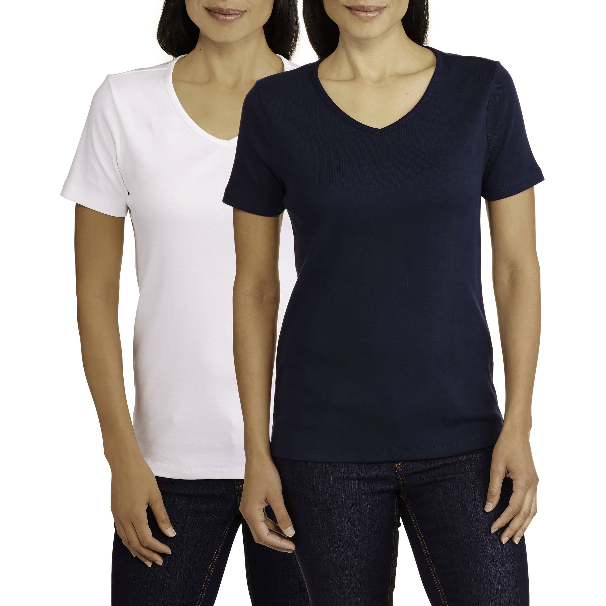 White Stag Women's Short Sleeve  V-Neck T-Shirt, 2 Pack Value Bundle