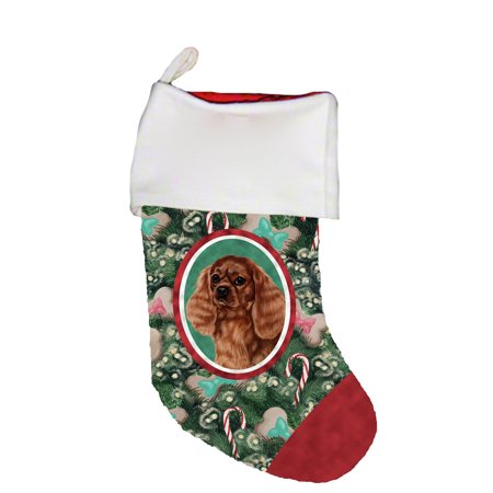 Cavalier King Charles Cotton Stockings - Cavalier King Charles Ruby - Best of Breed Dog Breed Christmas Stocking