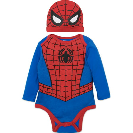 Marvel Spiderman Baby Boys' Costume Long Sleeve Bodysuit and Cap Set Blue, 3-6 Months (3-6 Month Old Baby Halloween Costumes)