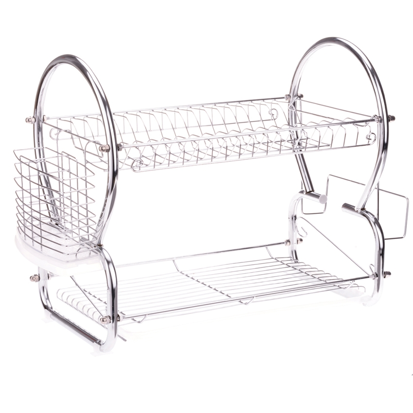 2 Tier Dish Rack , Stainless Steel Dish Drainer Dryer Tray by