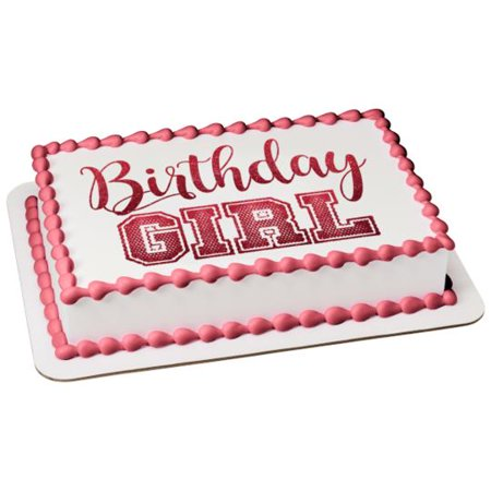 Stupendous Birthday Girl Jersey Font Red Glitter Edible Cake Topper Image Funny Birthday Cards Online Aeocydamsfinfo