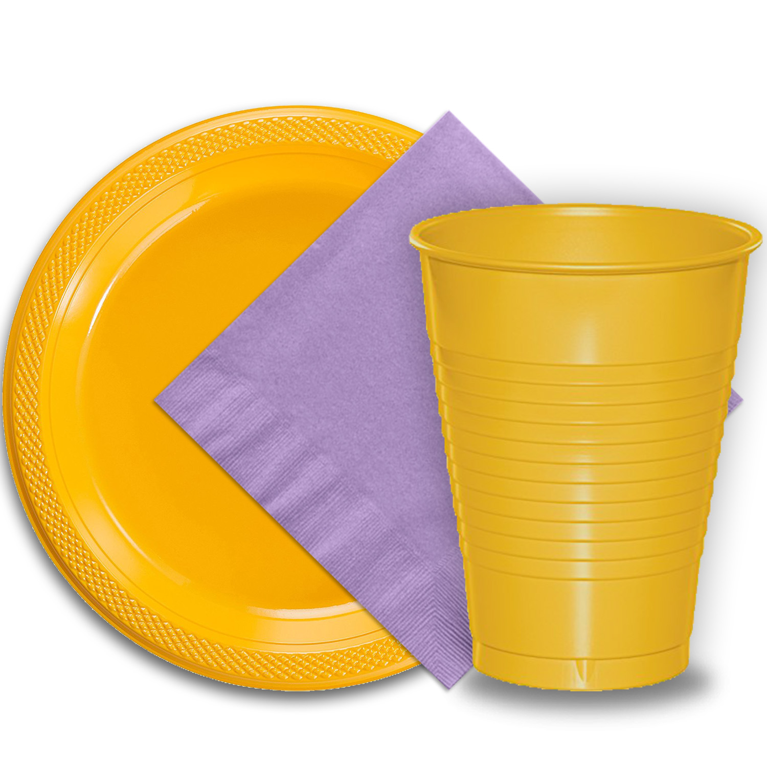 "50 Yellow Plastic Plates (9""), 50 Yellow Plastic Cups (12 oz.), and 50 Lavender Paper Napkins, Dazzelling Colored Disposable Party Supplies Tableware Set for Fifty Guests."