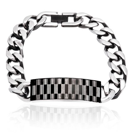 Reinforcements Men's Two-Tone Black IP and Rectangle Design ID Plate Bracelet, 8.5