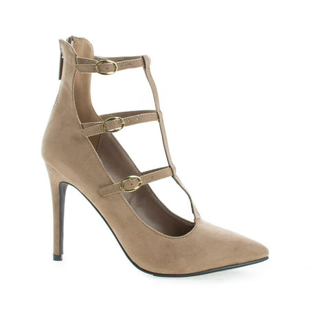 Lydia21 by Breckelle's, Pointy Toe Multi Buckle T-Strap Stiletto Heel Dress Pumps