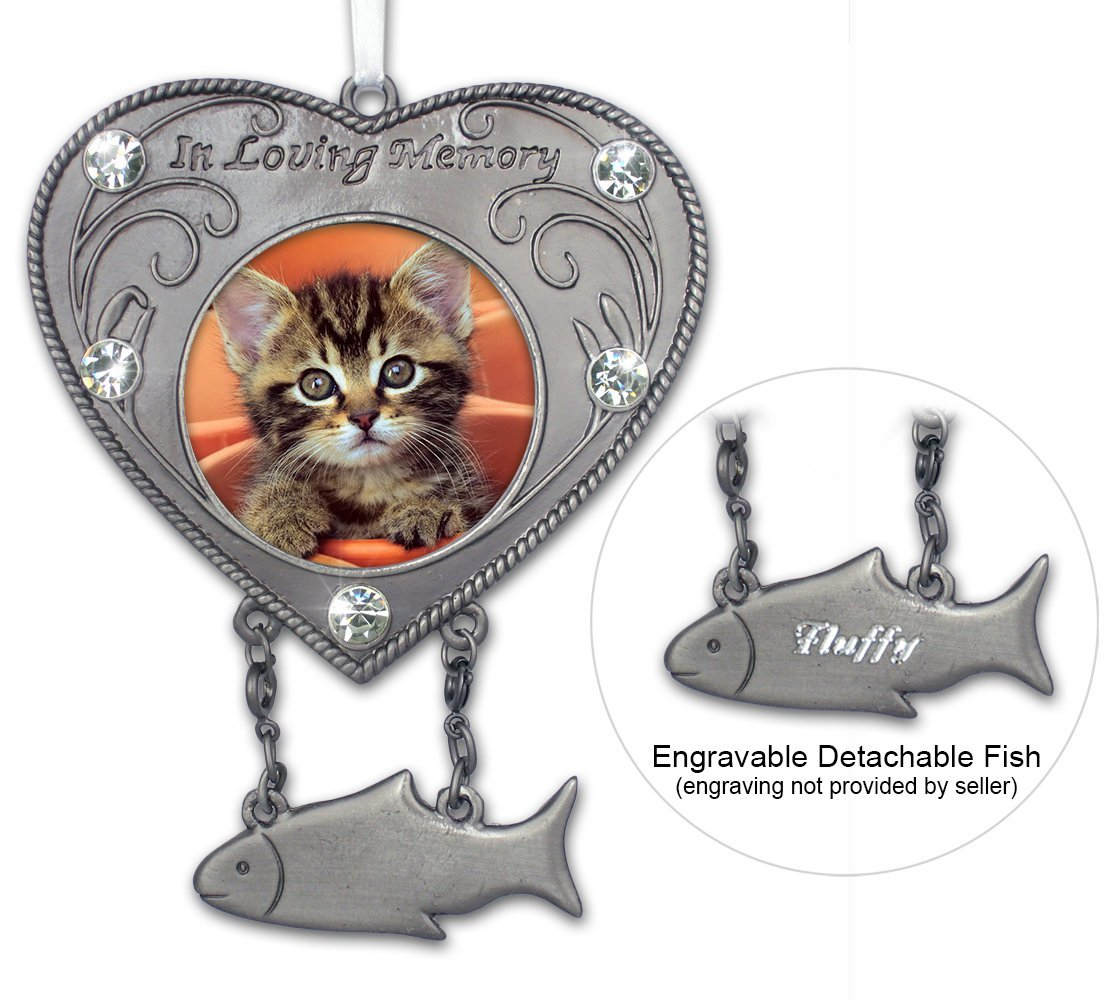 cat memorial ornament heart shaped photo ornament with hanging