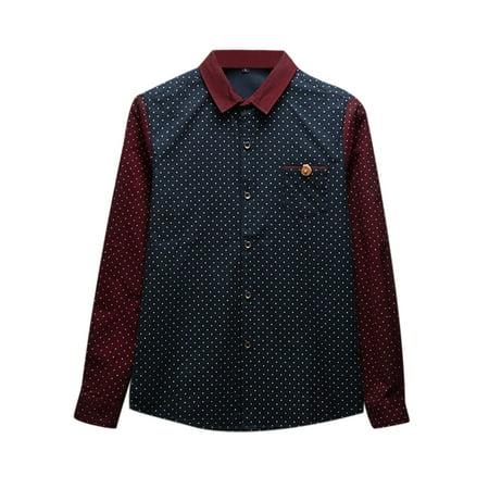 Unique Bargains Men's Dots Prints Point Collar Long Sleeves Contrast Color Casual Shirt Navy Blue (Size M / 38)