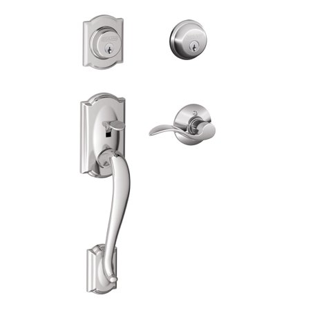 Schlage F62-CAM-ACC-RH Camelot Right Hand Double Cylinder Handleset with Accent Interior Lever from the