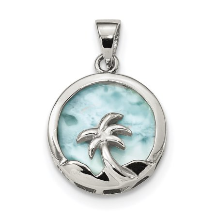 - 925 Sterling Silver Larimar Palm Tree Pendant Charm Necklace Sea Shore Gifts For Women For Her