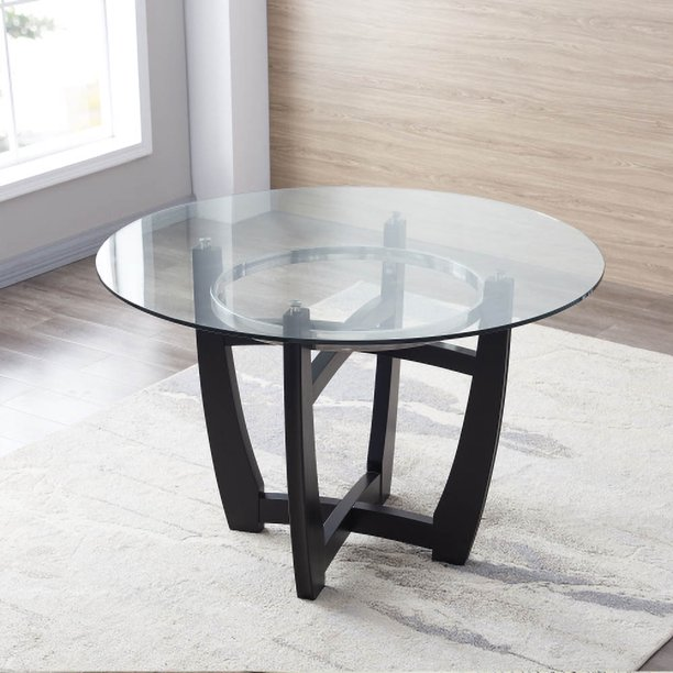 Ailsa 42 Inch Round Glass Top Dining, Round Glass Table Top 42