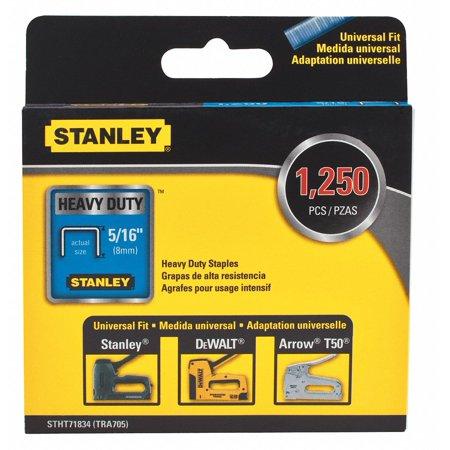 Stanley Staple, 5/16 Leg L(In.), Heavy Duty, PK1250 Silver   (Heavy Duty Staple Cartridge)