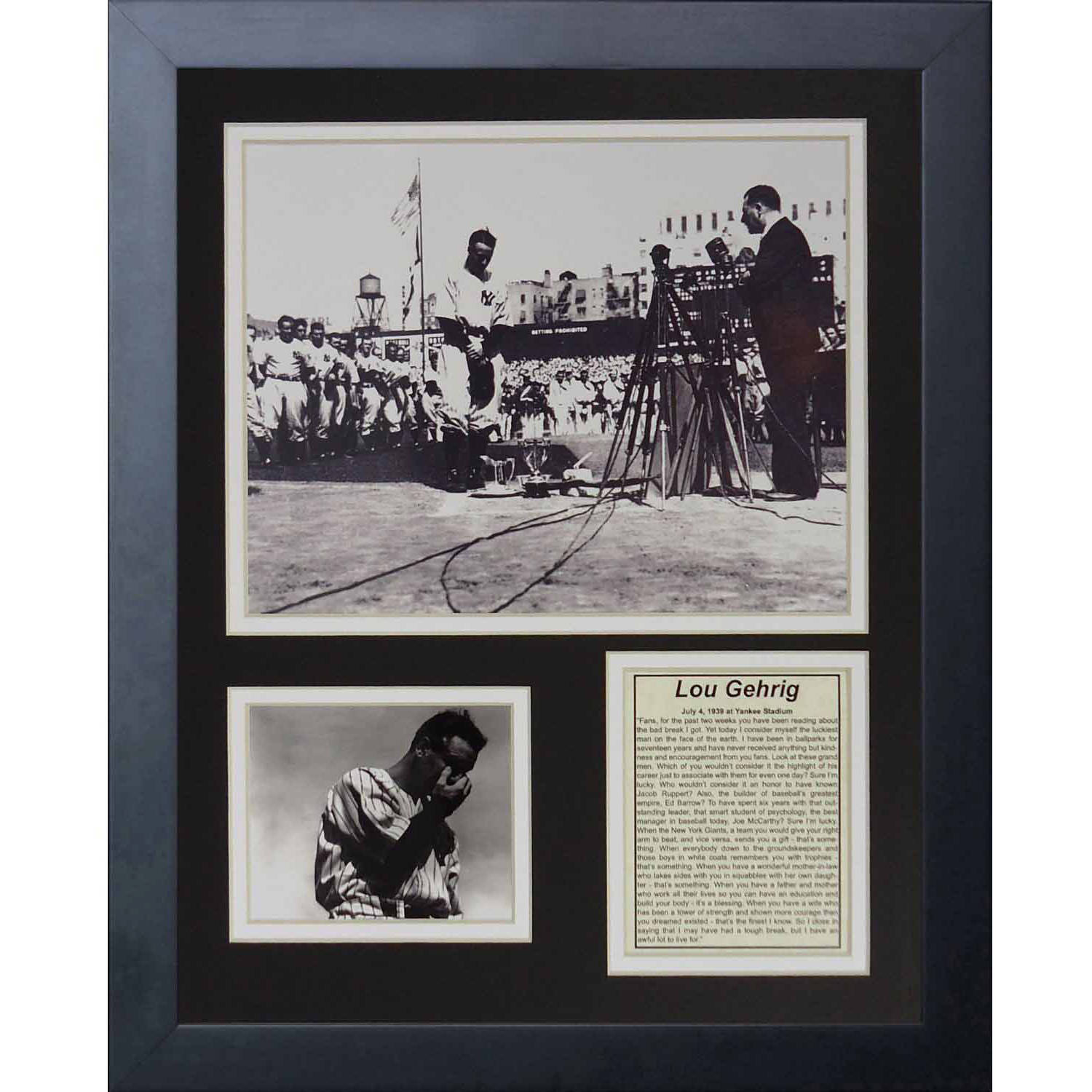 "Legends Never Die ""Lou Gehrig Farewell"" Framed Photo Collage, 11"" x 14"""
