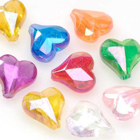 Faceted Heart Trns/Multi 144Pc/Pkg