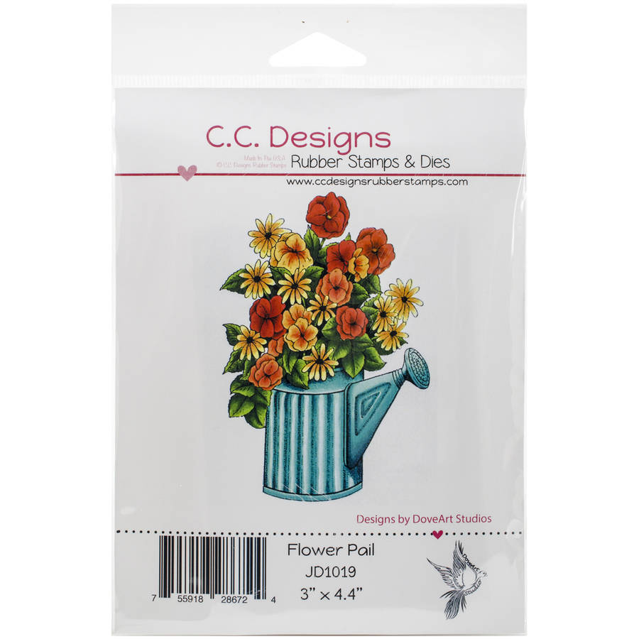 """DoveArt Cling Stamp 3""""X4.5""""-Flower Pail"""