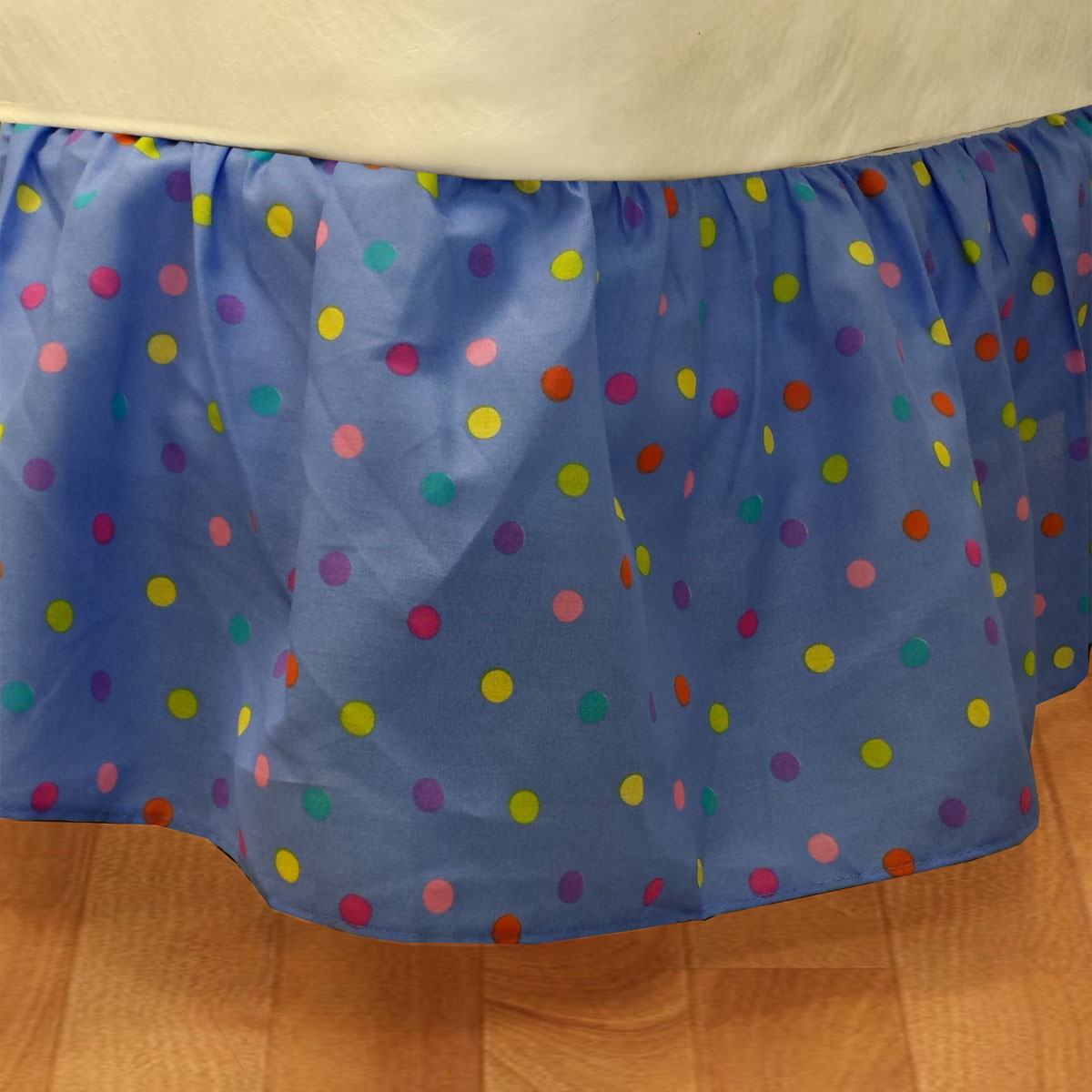Multicolored Polka Dots Twin Bed Dust Ruffle Blue Bedskirt Bedding Accessory