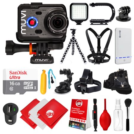 Veho Muvi K2 PRO Action Camera 4K with 16GB Card + Floating Handle + Flexible Tripod + Head/Chest/Wrist Strap + Car Mount + Opteka X-Grip + LED Light + Car Charger  with