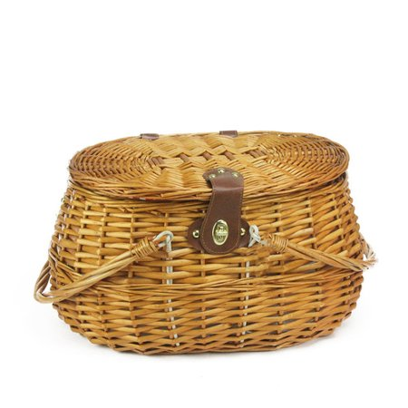 2 Person Hand Woven Honey Willow Polka Dotted Picnic Basket Set With Accessories