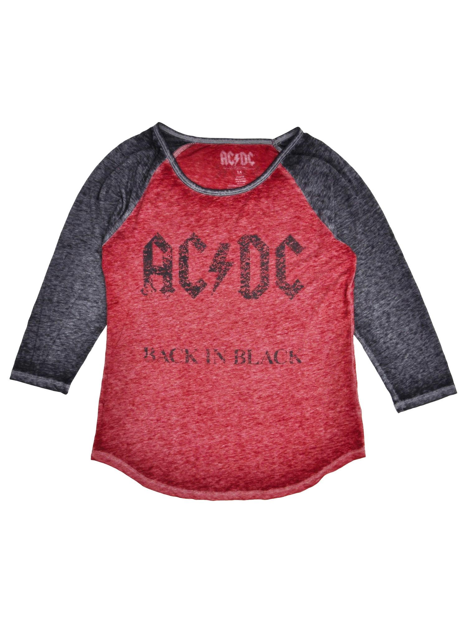 Women/'s ACDC Burnout Raglan Rock Band T-Shirt