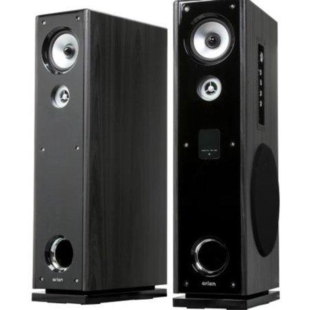 Eagle Tech ET-AR602R-BK Pair Floor Standing Powered Speakers with Remote Control Karaoke Input Pair ()
