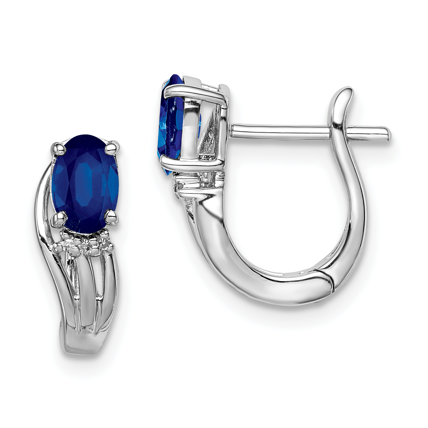 Sterling Silver Rhodium Plated Diamond & Sapphire Hinged Earrings QE9955S - image 2 de 2