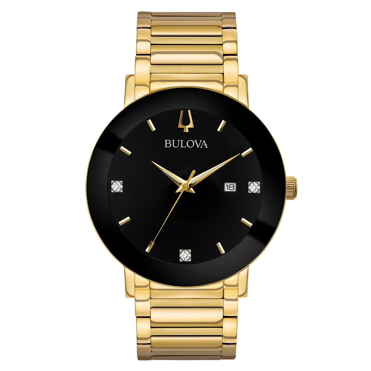 97D116 Men's Modern Black Dial Yellow Gold Steel Bracelet Diamond Watch
