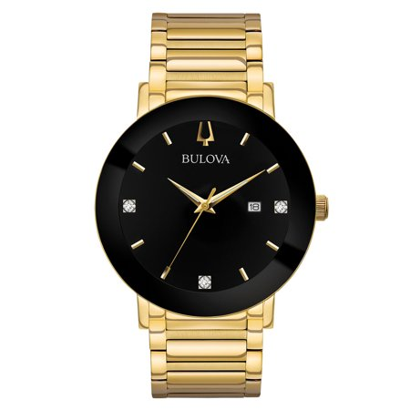 Beetle Dial Watch (97D116 Men's Modern Black Dial Yellow Gold Steel Bracelet Diamond Watch )