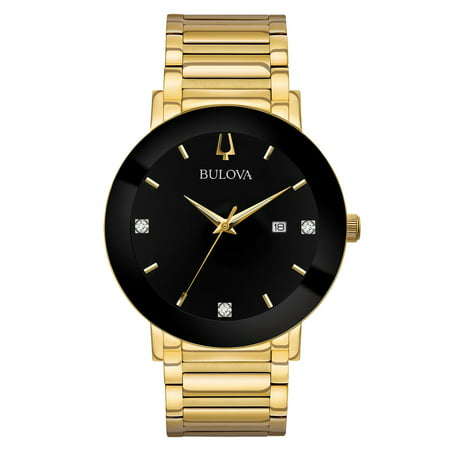 - 97D116 Men's Modern Black Dial Yellow Gold Steel Bracelet Diamond Watch