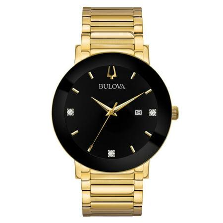 97D116 Men's Modern Black Dial Yellow Gold Steel Bracelet Diamond Watch Bulova Mens Blue Dial