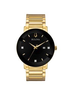 a32caee4ff Product Image 97D116 Men's Modern Black Dial Yellow Gold Steel Bracelet  Diamond Watch