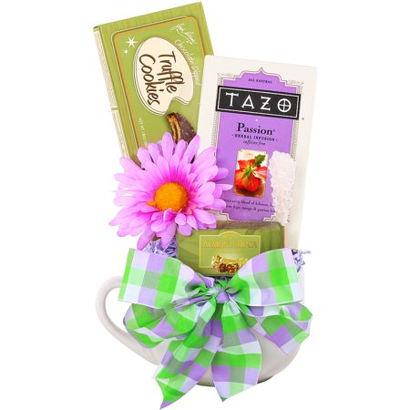 Mothers Day Tulips Cookie Basket - Alder Creek Gift Baskets Tea & Cookies for Mom, 4 pc