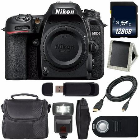 Nikon D7500 DSLR Camera (Body Only) International Model 1581 + 128GB SDXC Class 10 Memory Card + Universal Slave Flash unit + 6