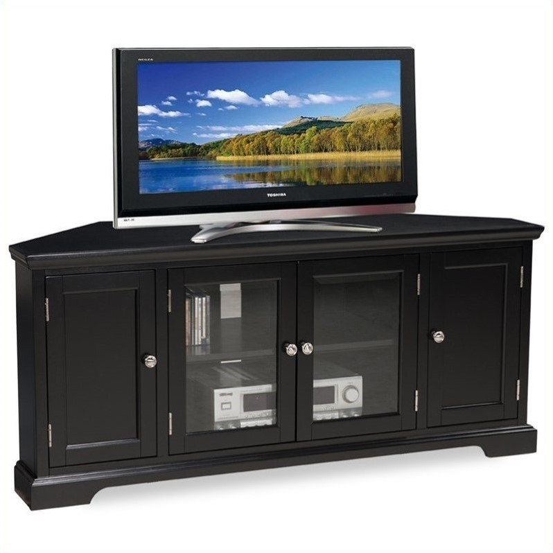 "Leick Riley Holliday Hardwood 56"" Corner TV Stand in Black"