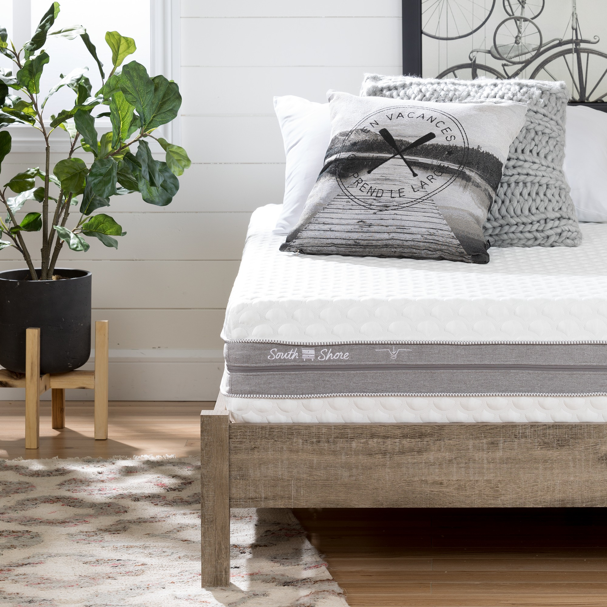 """South Shore Somea Sensation Off-White and Gray CertiPUR Dual Firmness 10"""" Mattress, Multiple Sizes"""