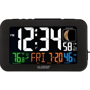 La Crosse Technology 617-1485B Color LED Alarm Clock with USB charging port, Black