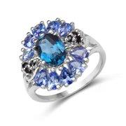 Malaika  .925 Sterling Silver 3ct TGW Genuine London Blue Topaz, Tanzanite and Black Spinel Ring Size-7, Blue