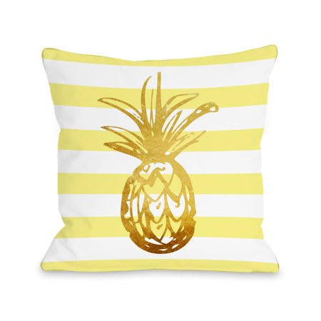 Yellow Striped Pillow - Tropical Stripes Pineapple - Yellow 18x18 Pillow by OBC