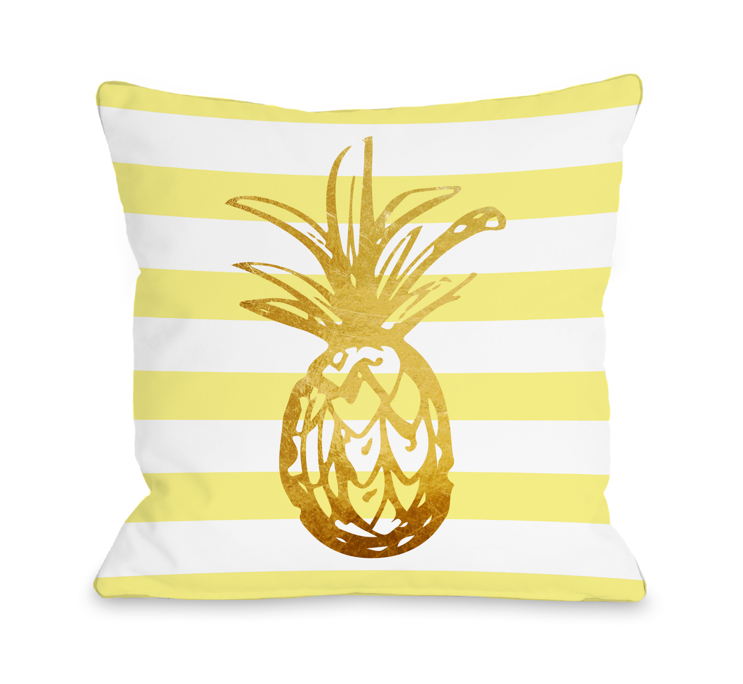Tropical Stripes Pineapple - Yellow 18x18 Pillow by OBC