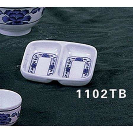 Thunder Group Asian Melamine Lotus Twin Sauce Dish, 2 3/4 x 3 3/8 inch - 24 per case.