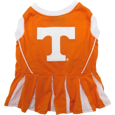 Pets First College Tennessee Volunteers Cheerleader, 3 Sizes Pet Dress Available. Licensed Dog Outfit