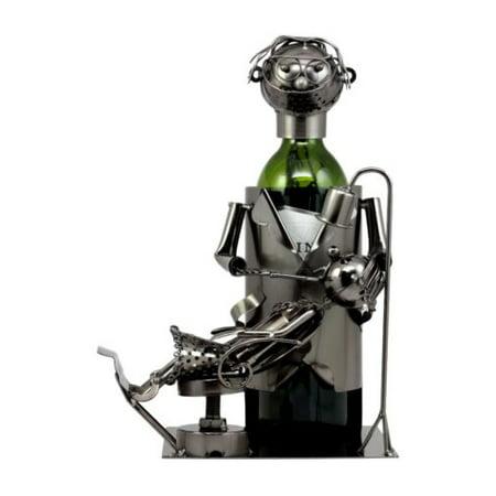 Ebros Lady Dentist Metal Wine Bottle Holder 12.5