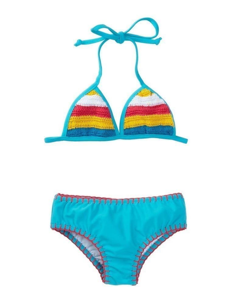 Azul Girls Turquoise Hippie Hippie Shake Crochet Bikini Pc Swimsuit